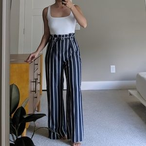 Navy Striped Wide Legged Pants